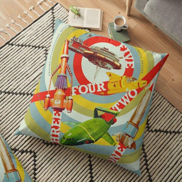 FIVE! FOUR! THREE! TWO! ONE! THUNDERBIRDS 2065 Pop Art Floor Pillow