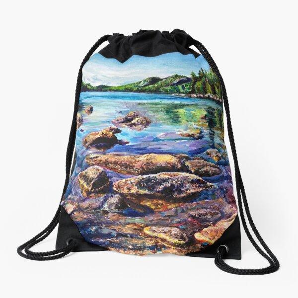 Maine Acadia Painting Landscape Drawstring Bag