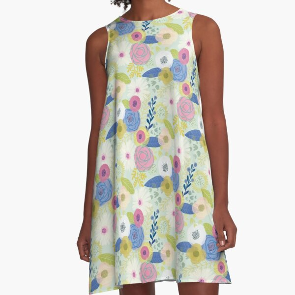 Watercolor Blooms A-Line Dress