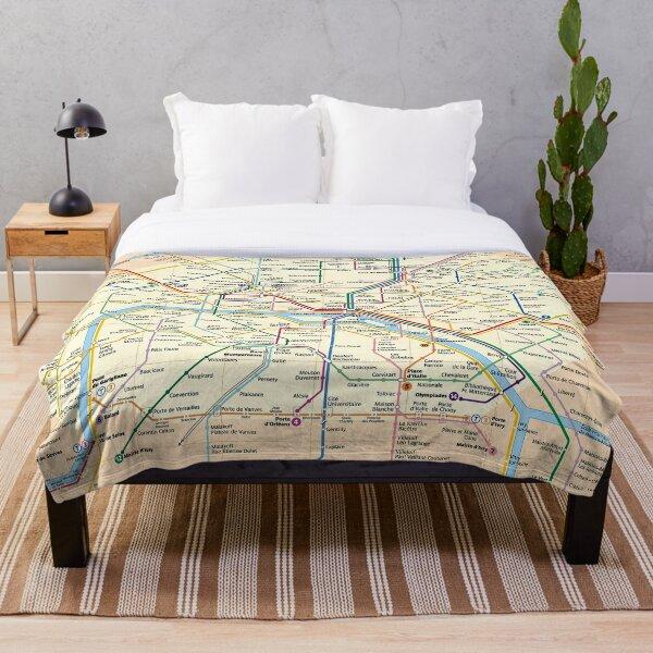 Paris METRO Map Throw Blanket