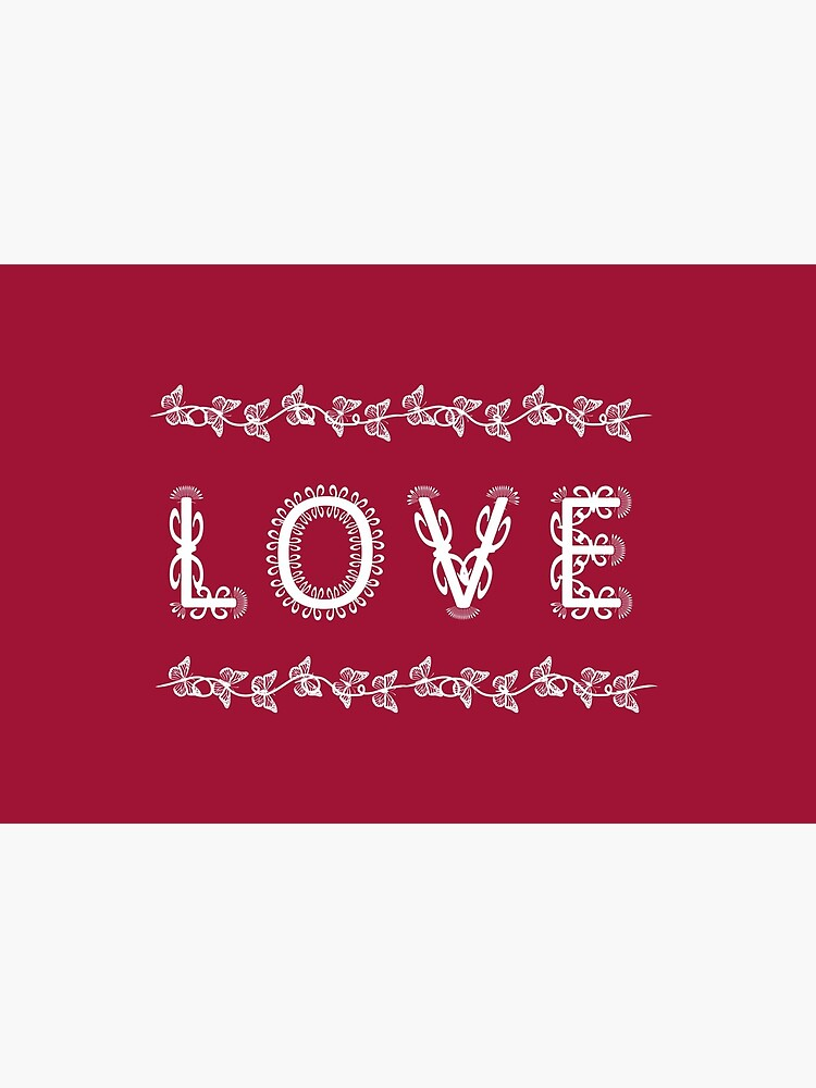 The Word Love in Decorative White Flourish by RootSquare
