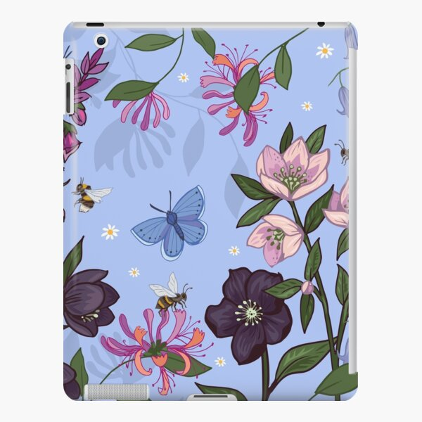 Hellebores and Foxgloves on blue iPad Snap Case