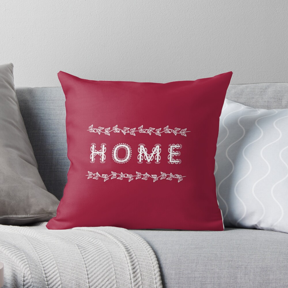 The Word Home Red and White Throw Pillow