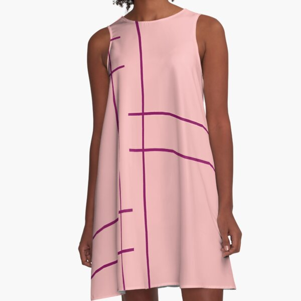 Soft Pink Color Blocking with Bright Purple by Courtney Hatcher A-Line Dress