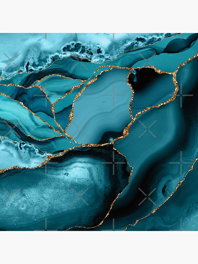 Teal And Gold Marble Landscape Waves by MysticMarble