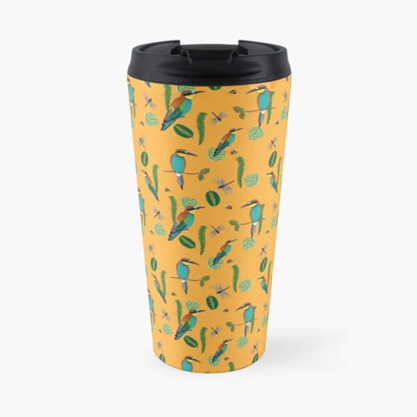 European bee-eater pattern with bees, dragon fly and leaves Travel Mug