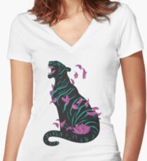 Black tiger Women's Fitted V-Neck T-Shirt