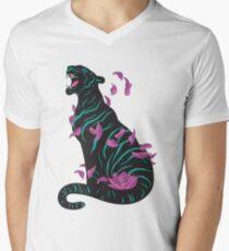 Schwarzer Tiger T-Shirt mit V-Ausschnitt für Männer