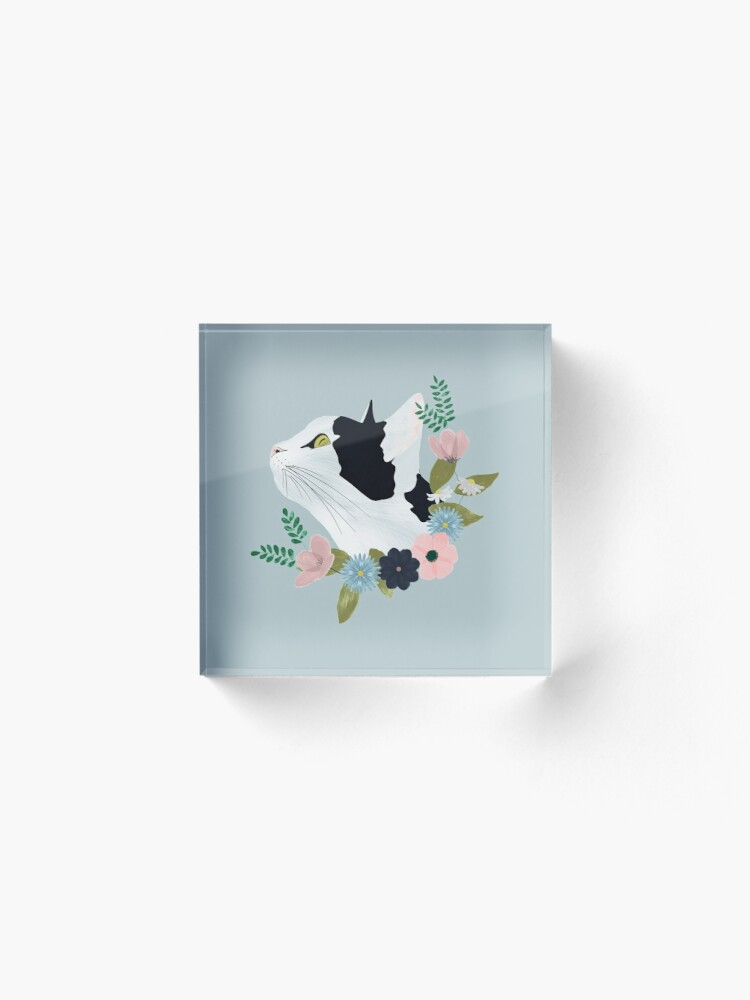 Alternate view of Floral Cat Acrylic Block