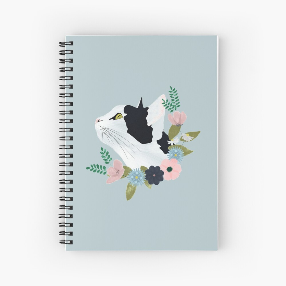 Floral Cat Spiral Notebook