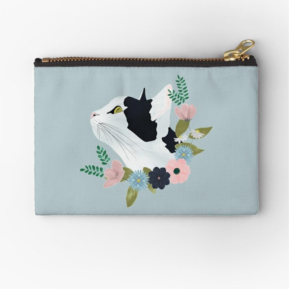 Floral Cat Zipper Pouch