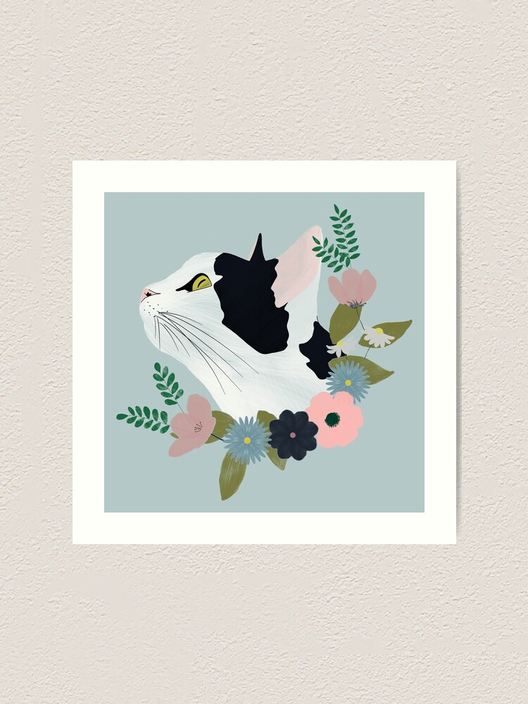 Alternate view of Floral Cat Art Print