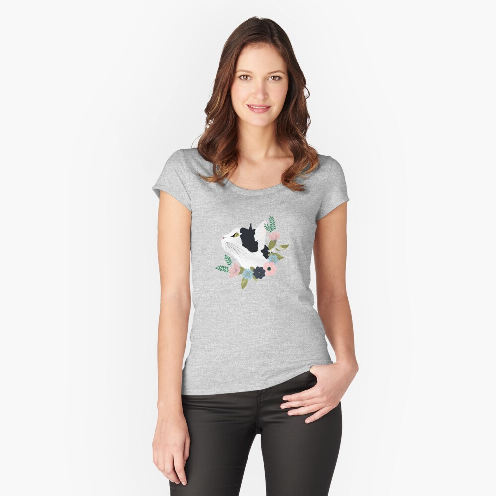 Floral Cat Fitted Scoop T-Shirt