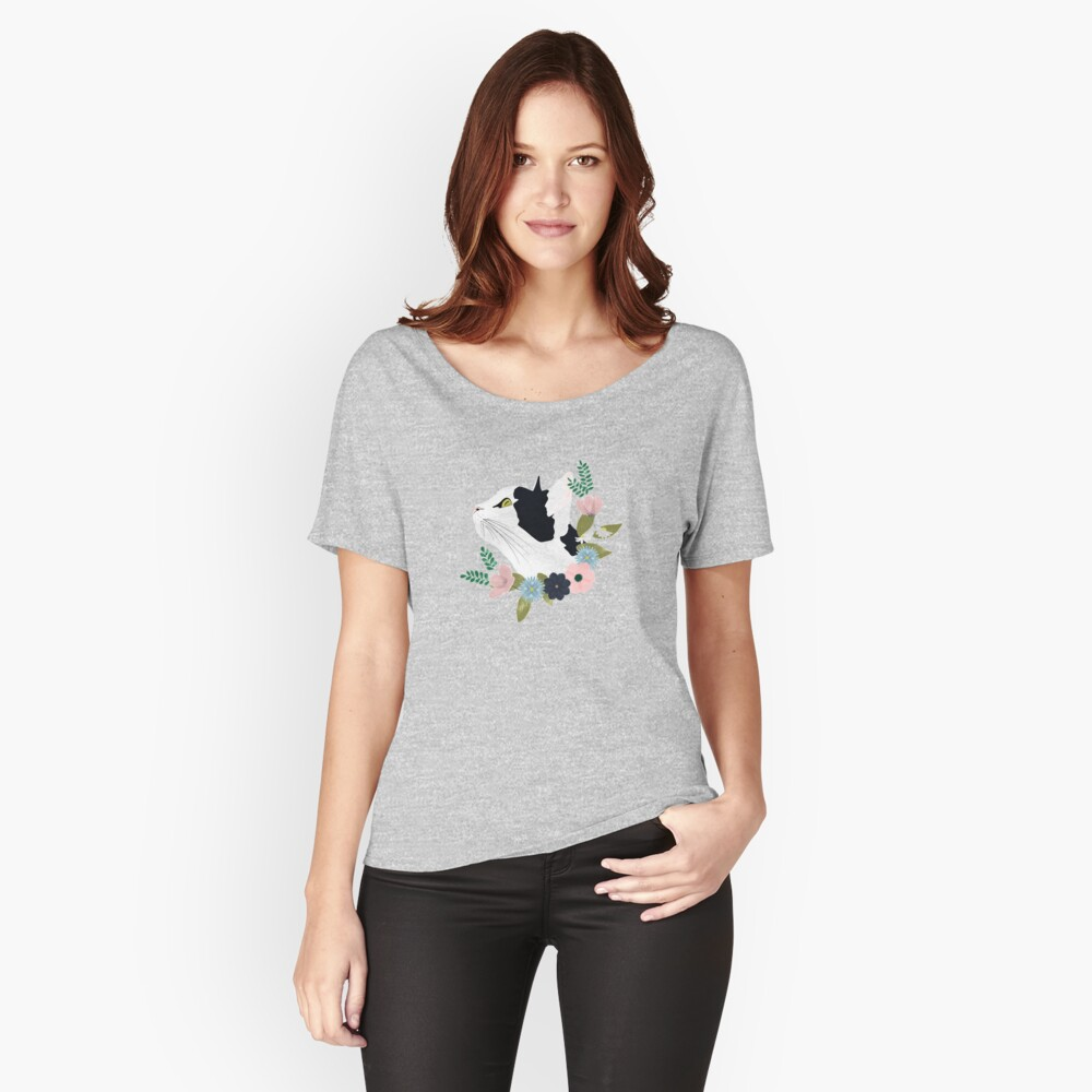 Floral Cat Relaxed Fit T-Shirt