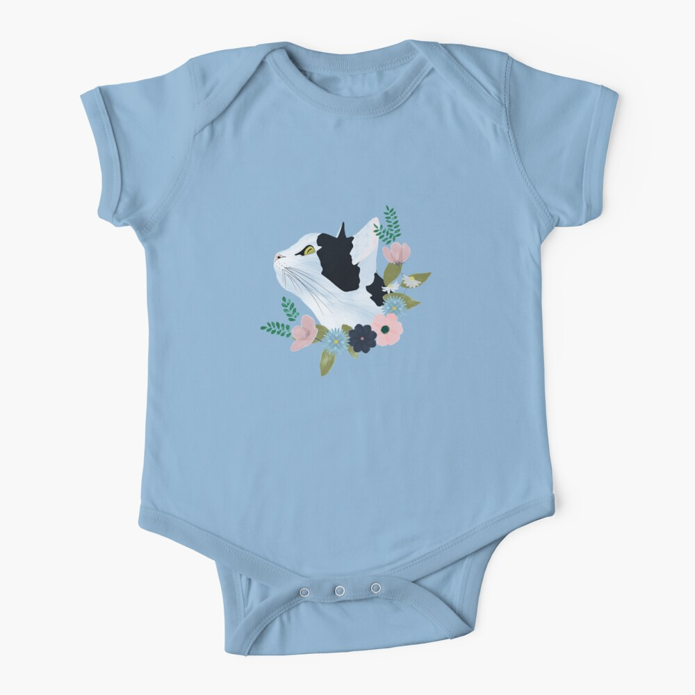 Floral Cat Baby One-Piece