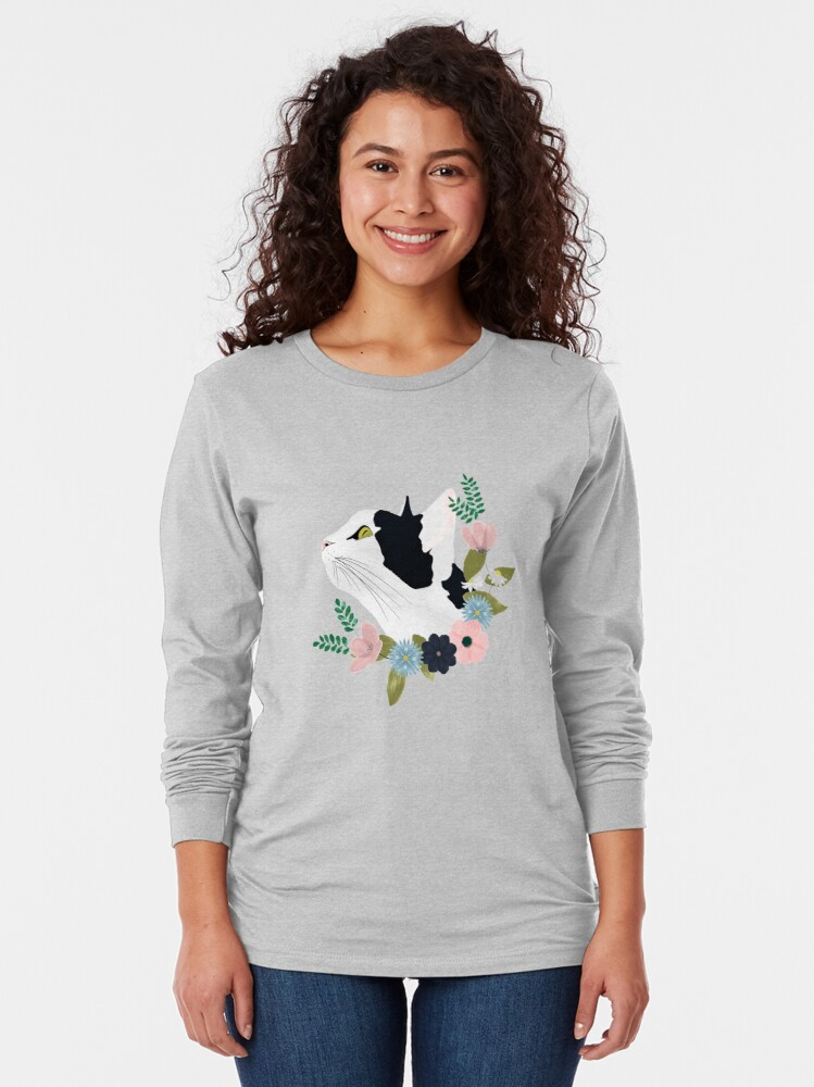 Alternate view of Floral Cat Long Sleeve T-Shirt