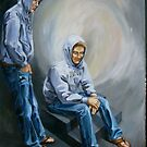 Study of Two Matts in Blue and Gray by jdbuckleyart