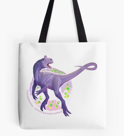 Cupiosexual Cryolophosaurus (with text)  Tote Bag