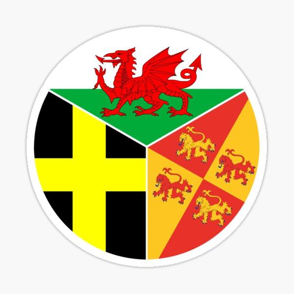 Baneri Cymru Dewi Sant Owain Glyndŵr, Flags of Wales St David and Owain Glyndŵr Sticker