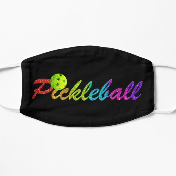 Colorful Pickleball Logo with Faux Glitter Mask
