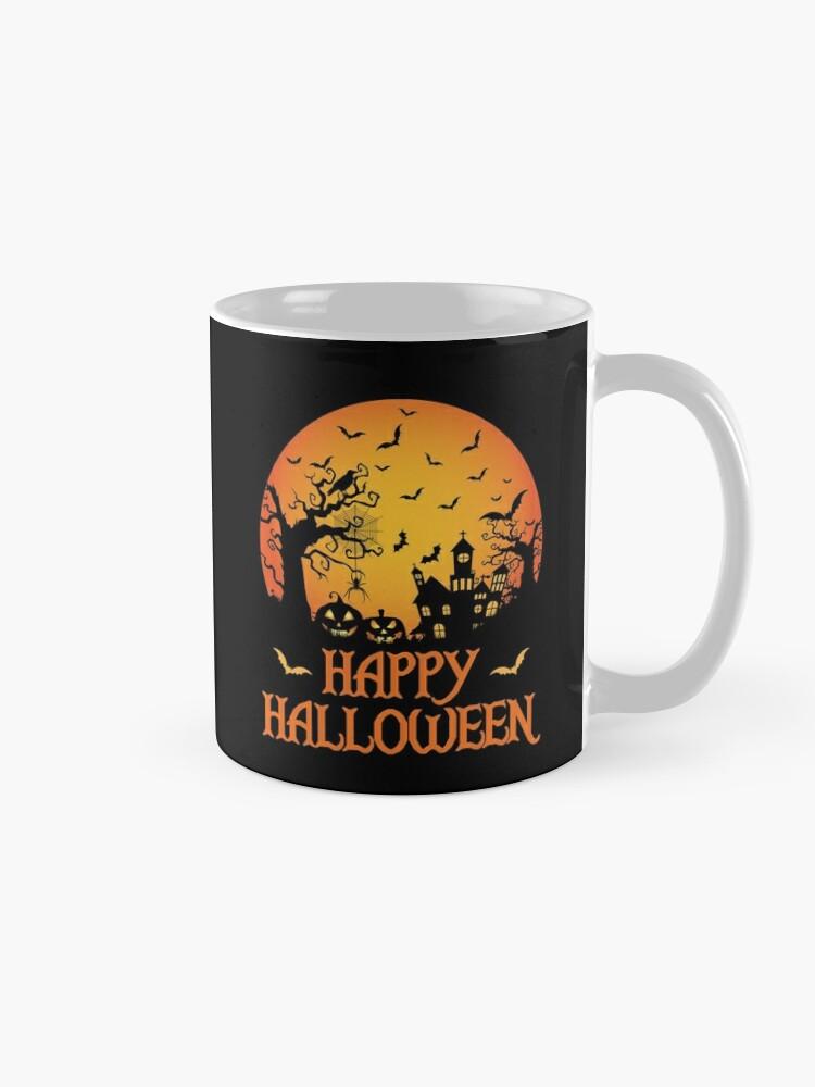 Alternate view of Haunted House Spider Cobweb Bat Crow Moonlit Gourd. Mug