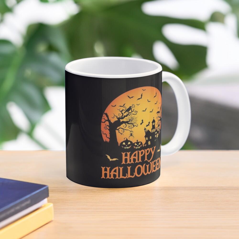 Haunted House Spider Cobweb Bat Crow Moonlit Gourd. Mug