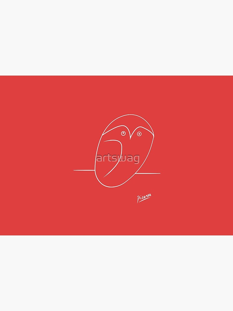 Picasso - Baby Owl - Signature - Line Drawing - WHITE by artswag