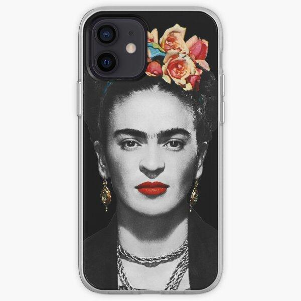 Frida Kahlo retrato en blanco y negro con fondo negro Funda blanda para iPhone