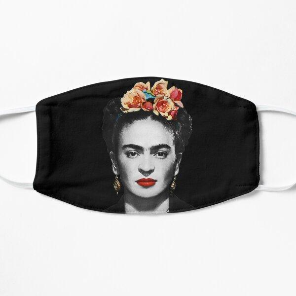 Frida Kahlo retrato en blanco y negro con fondo negro Mascarilla plana