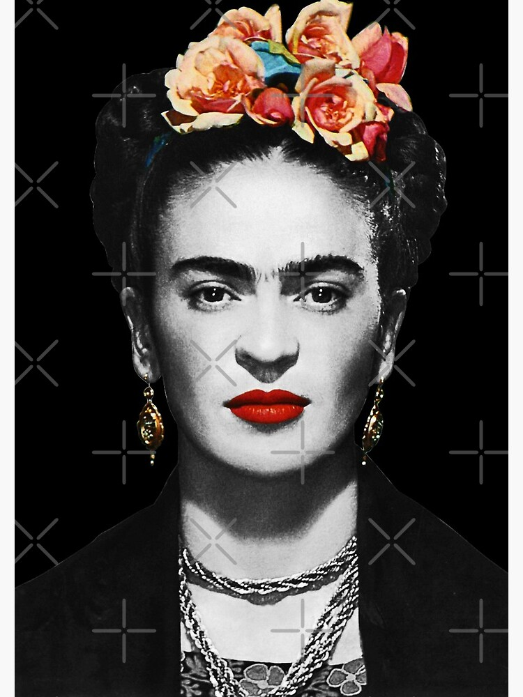 Frida Kahlo Portrait Black And White With Black Background by GabrielleChanel