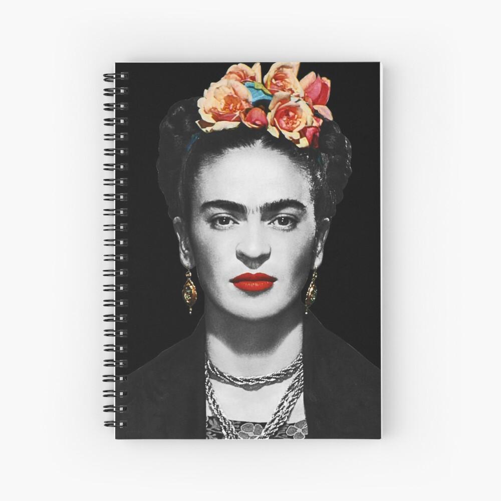 Frida Kahlo Portrait Black And White With Black Background Spiral Notebook