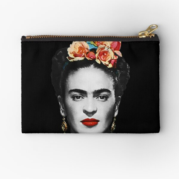 Frida Kahlo Portrait Black And White With Black Background Zipper Pouch