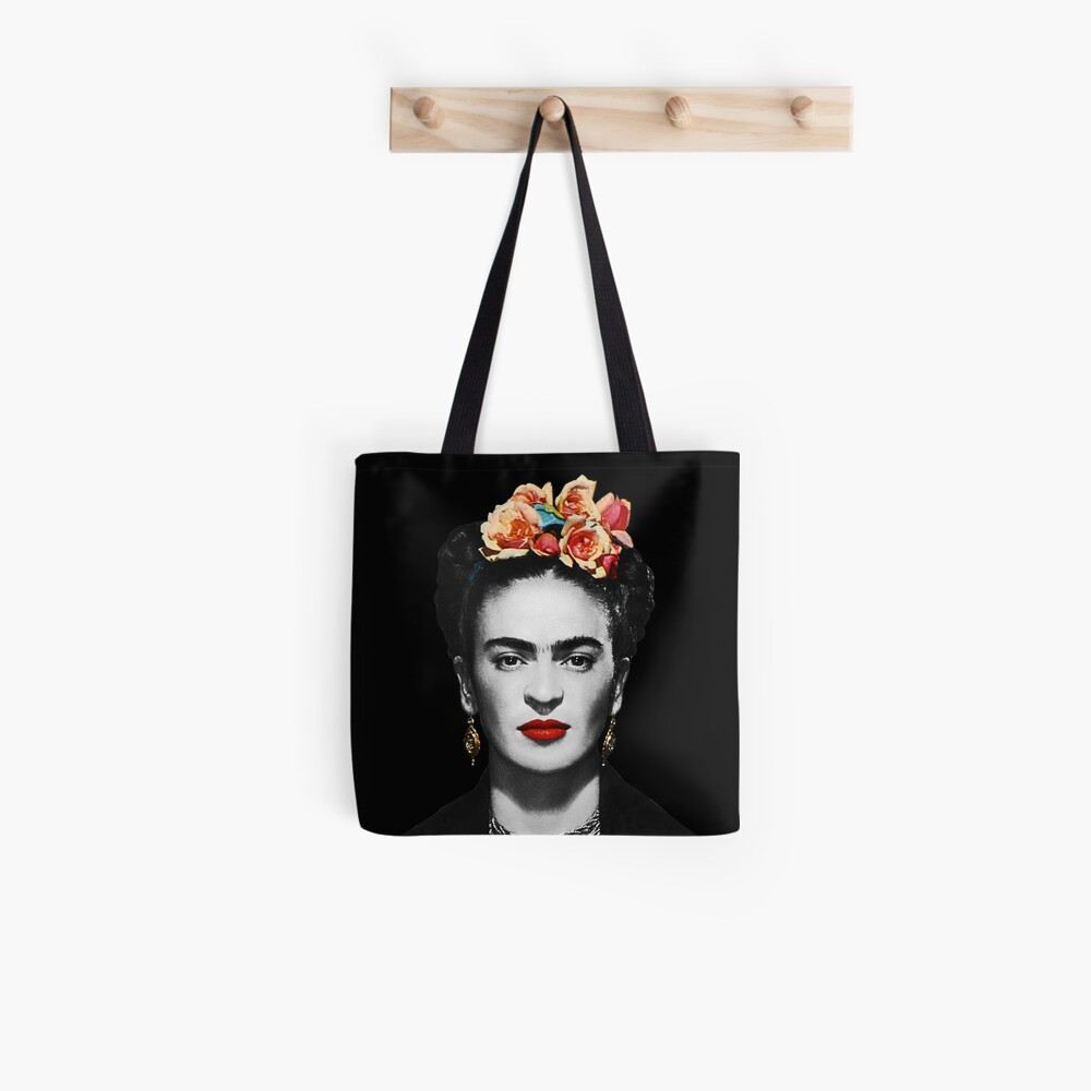 Frida Kahlo Portrait Black And White With Black Background Tote Bag