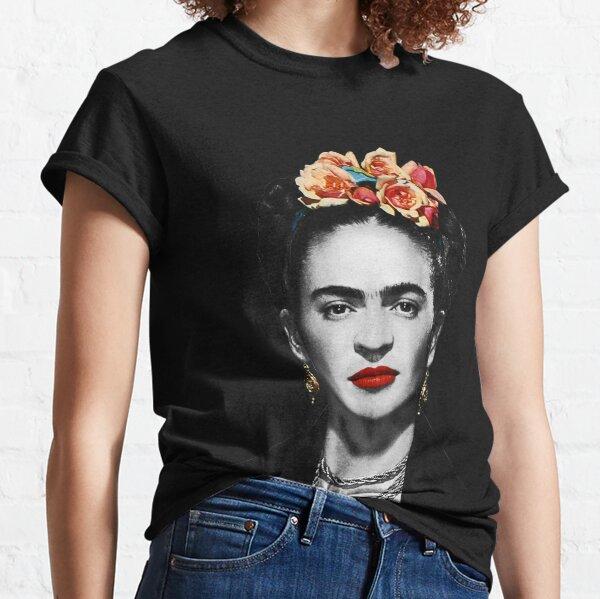 Portrait de Frida Kahlo noir et blanc avec fond noir T-shirt classique