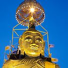 Huge Golden Buddha by Night by Kerry Dunstone