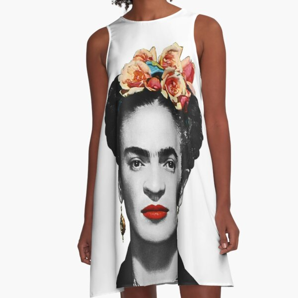 Frida Kahlo Portrait Black And White A-Line Dress