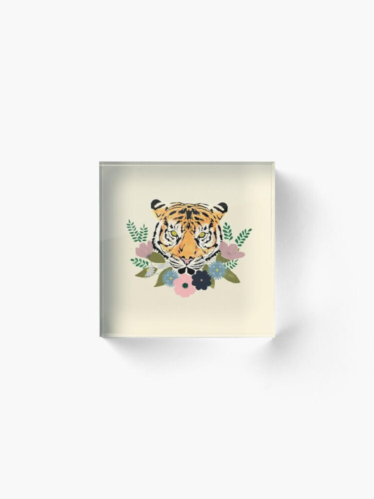 Alternate view of Floral Tiger Acrylic Block