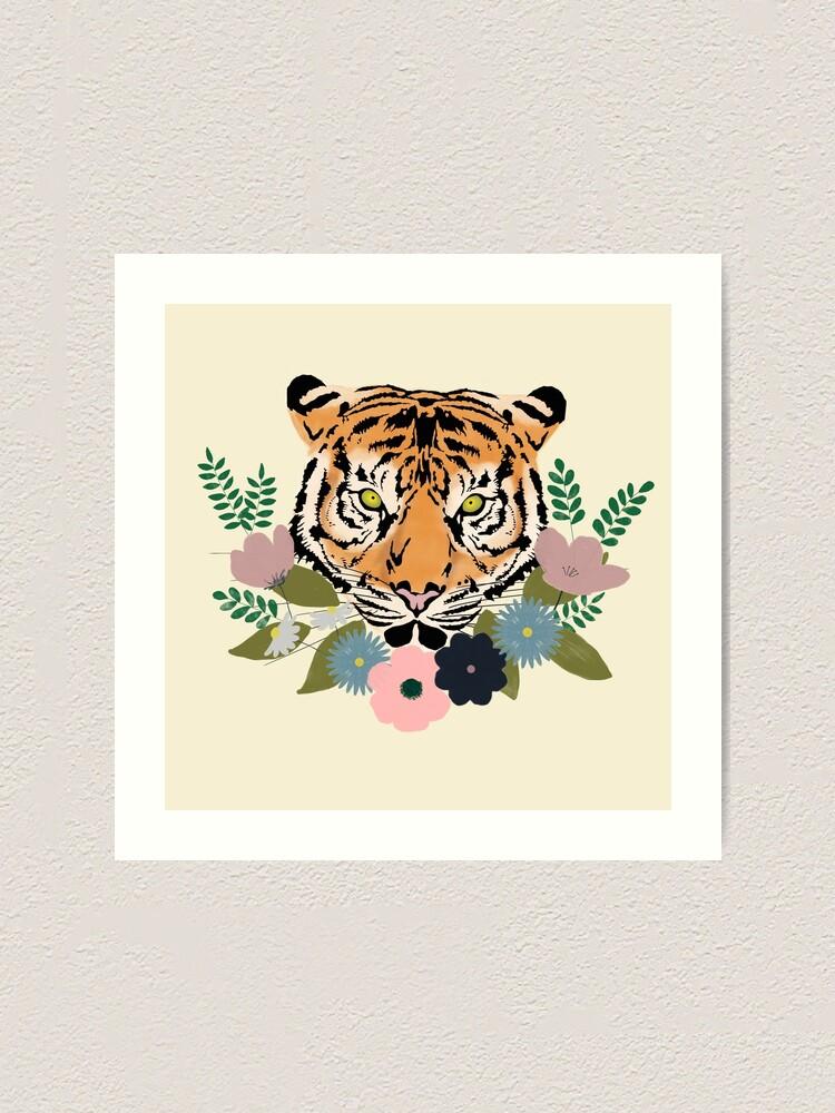 Alternate view of Floral Tiger Art Print
