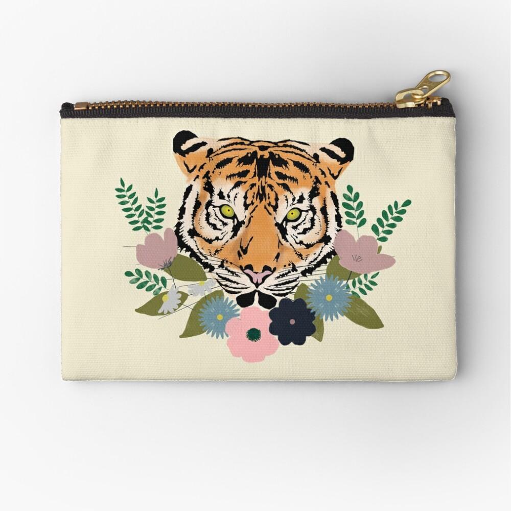 Floral Tiger Zipper Pouch