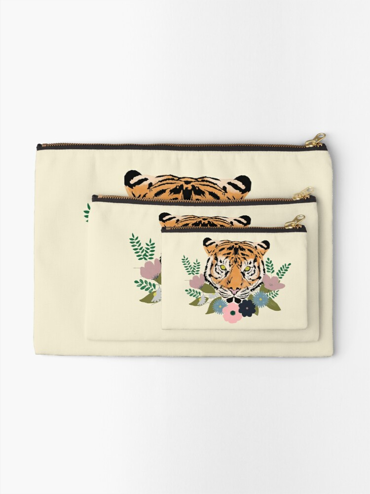 Alternate view of Floral Tiger Zipper Pouch