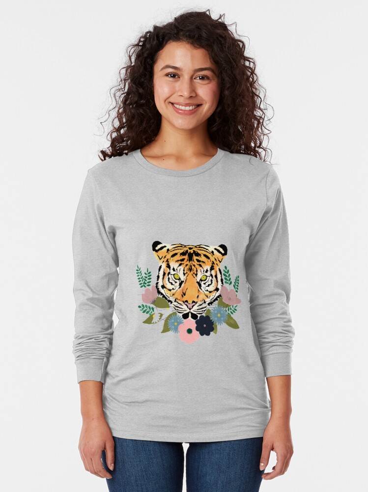 Alternate view of Floral Tiger Long Sleeve T-Shirt