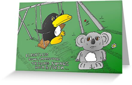 binary options news cartoon of penguin and koala by Binary-Options