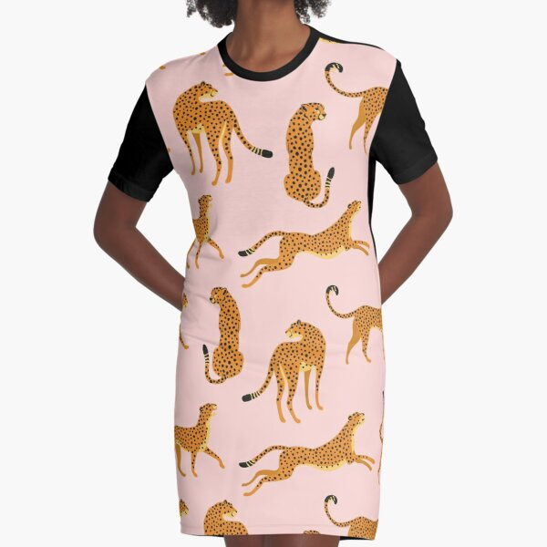 Leopards or cheetahs. Graphic T-Shirt Dress
