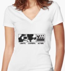 Lights.Camera.Action. Movie Maker T-Shirt Women's Fitted V-Neck T-Shirt