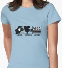 Lights.Camera.Action. Movie Maker T-Shirt Womens Fitted T-Shirt