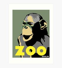 Retro Zoo Berlin monkey travel advertising Art Print
