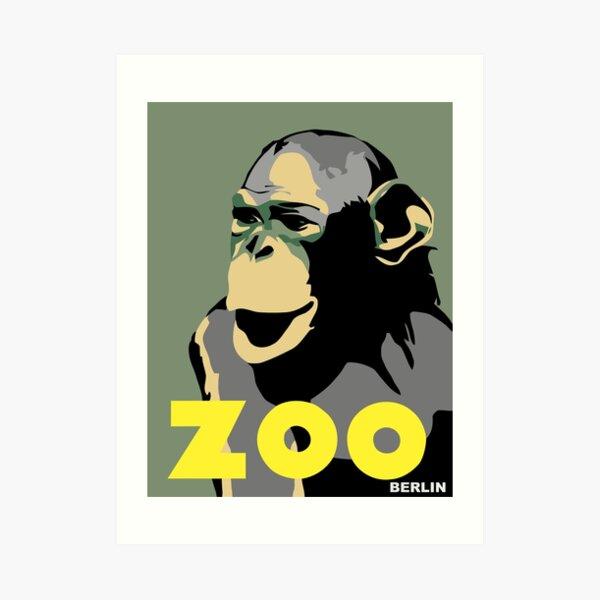 Lámina artística «Retro Zoo Berlín mono viaje publicidad» de ...