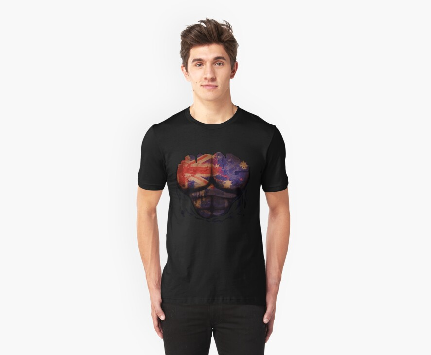 Australian  Flag  Body Muscles  Ripped Funny Patriotic T-Shirt by CroDesign