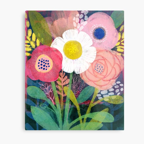 Bright Floral Bouquet Metal Print