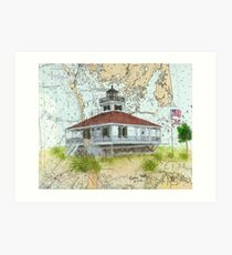 Boca Grande Lighthouse FL Key Map Cathy Peek Art Print